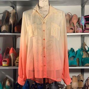 Perch by blu pepper ombré orange blouse